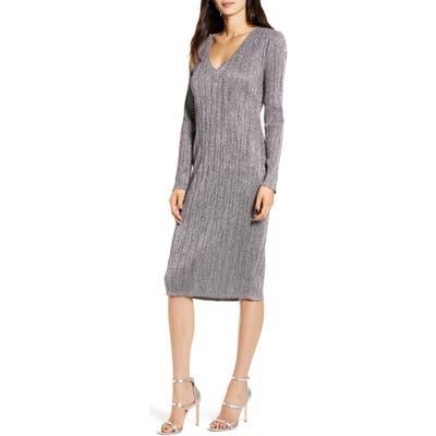 Chelsea28 Metallic Long Sleeve Sweater Dress, Grey