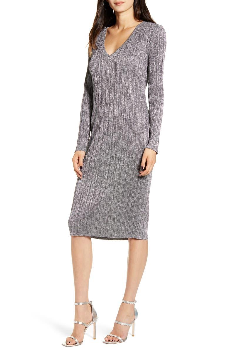 CHELSEA28 Metallic Long Sleeve Sweater Dress, Main, color, 030