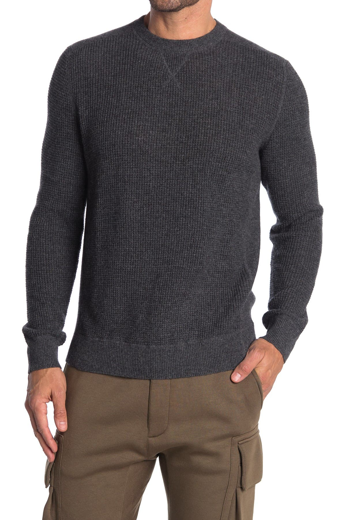 Image of Stewart of Scotland Cashmere Waffle Knit Crew Neck Sweater