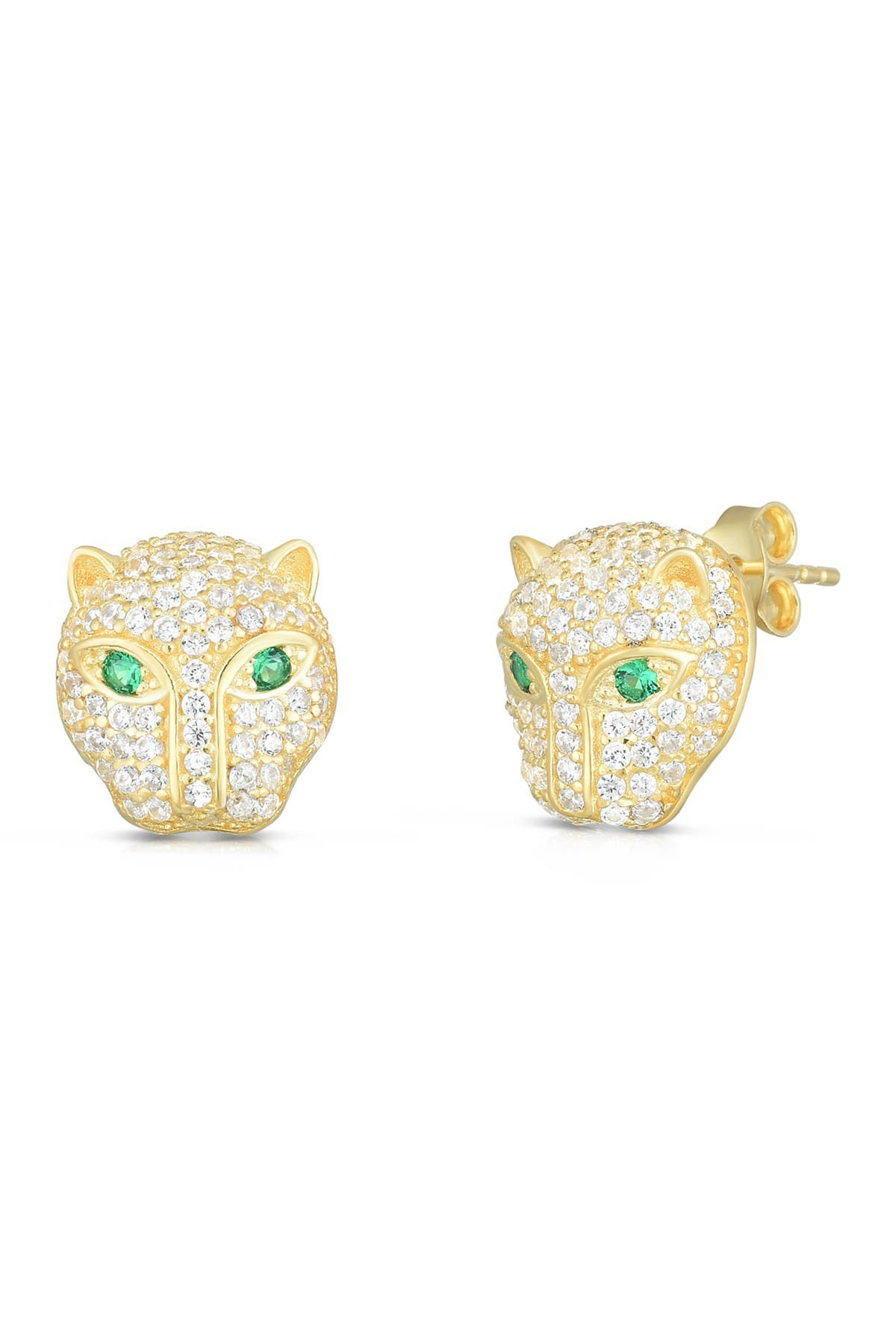 Image of Sphera Milano 14K Yellow Gold Plated Sterling Silver Pave CZ Panther Stud Earrings