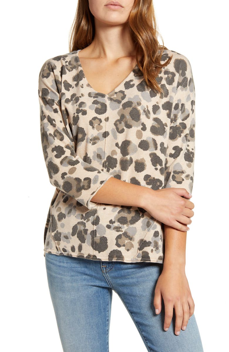 WIT & WISDOM Leopard Print Cutout Back Sweater, Main, color, OATMEAL