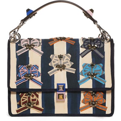 Fendi Kan I Embellished Ribbon Shoulder Bag -