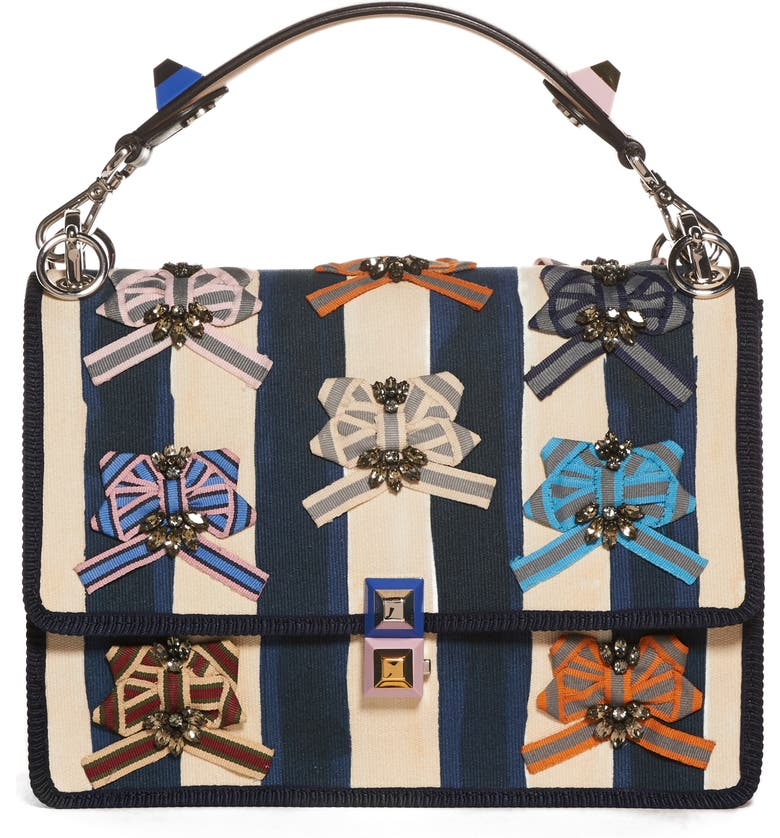 FENDI Kan I Embellished Ribbon Shoulder Bag, Main, color, MIDNIGHT BLUE/CAMELIA