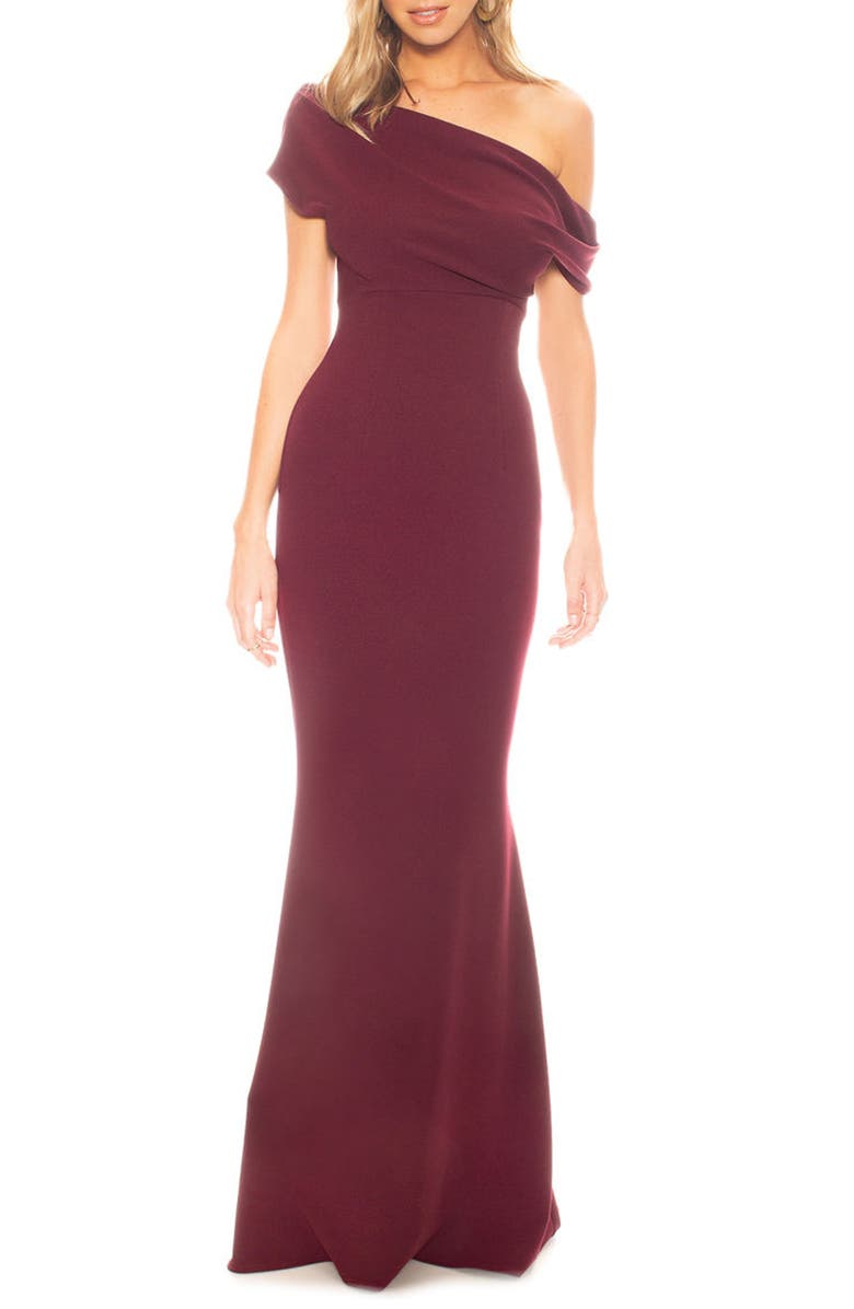 KATIE MAY Hannah Off the Shoulder Crepe Trumpet Gown, Main, color, 606