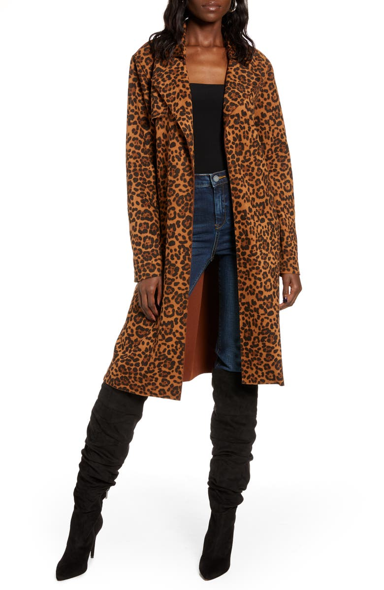BLANKNYC Faux Suede Trench Coat, Main, color, ON THE PROWL