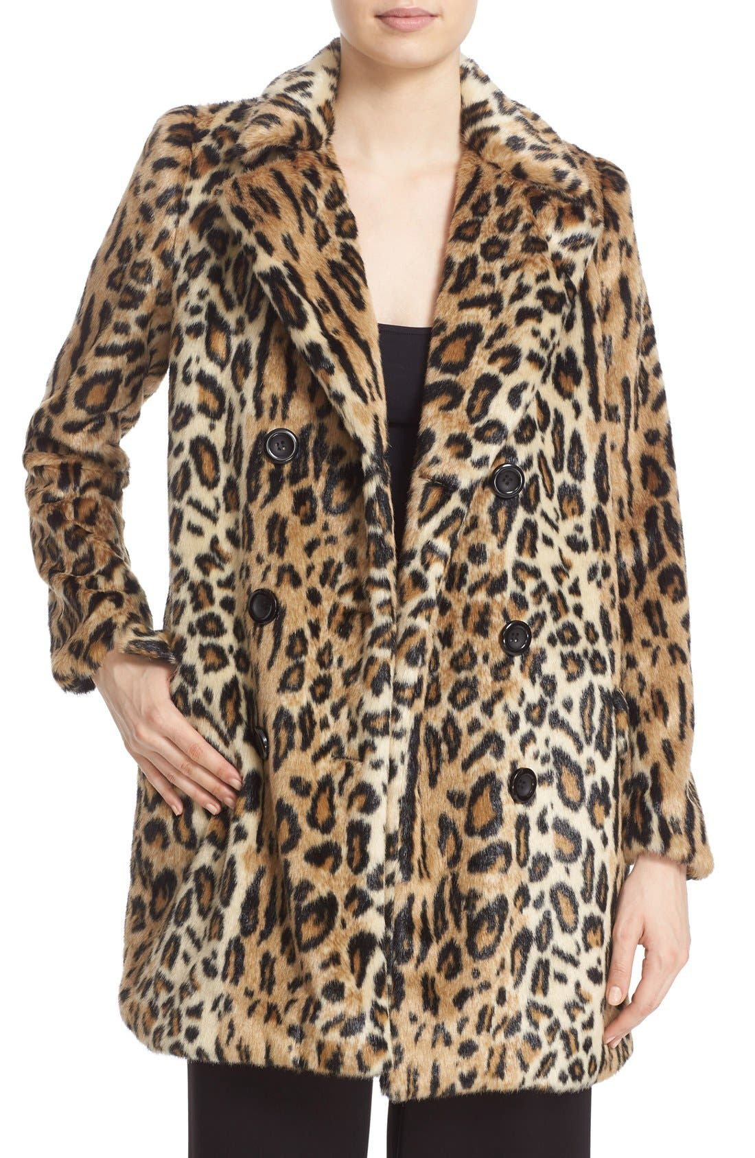 'Montana' Leopard Print Faux Fur Double Breasted Coat, Main, color, 219