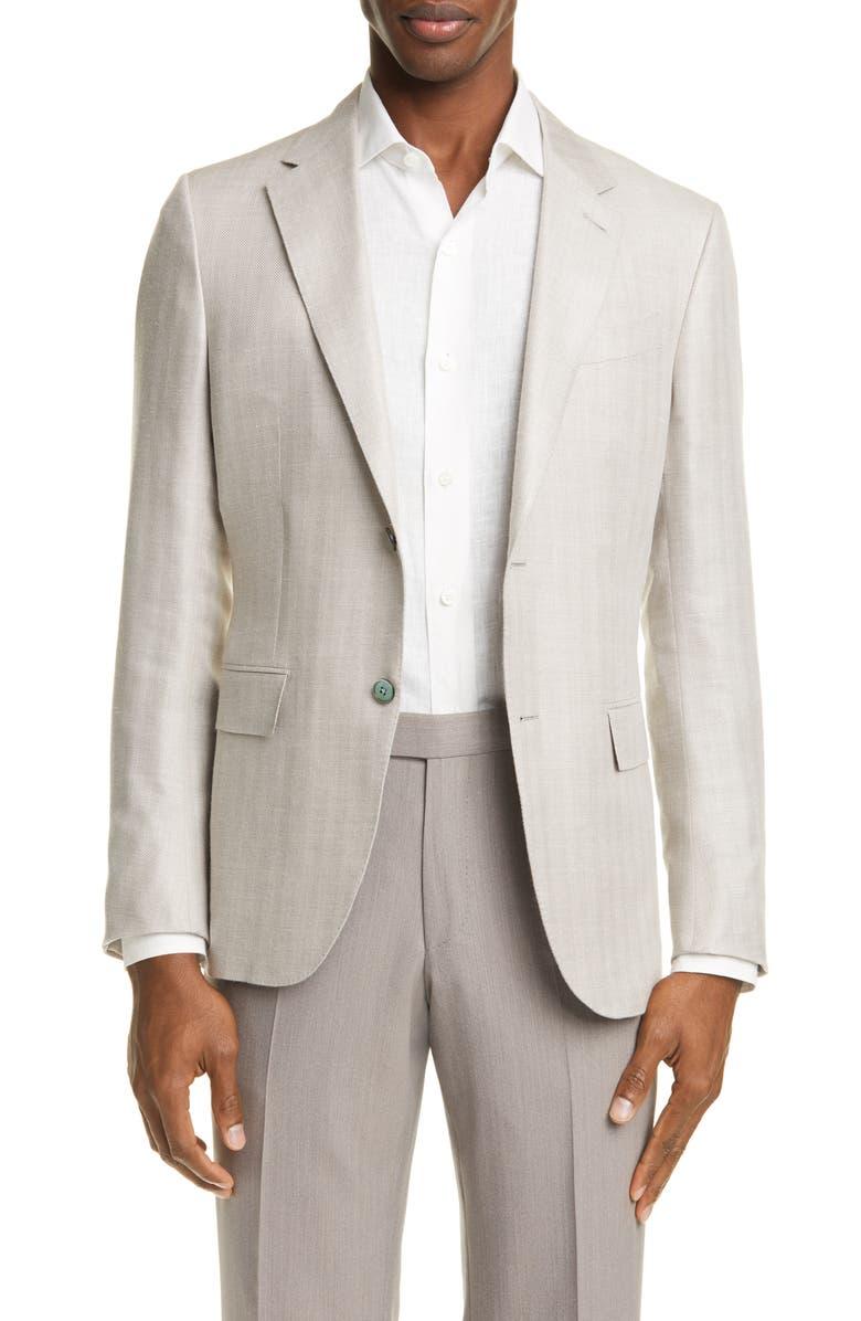 ERMENEGILDO ZEGNA Milano Easy Slim Fit Herringbone Sport Coat, Main, color, BEIGE