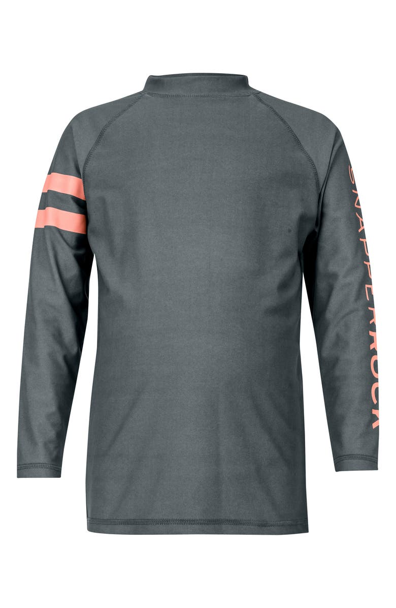 SNAPPER ROCK Raglan Long Sleeve Rashguard, Main, color, STEEL GREY/ CORAL STRIPE