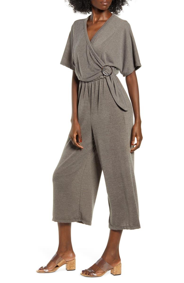 ALL IN FAVOR Wrap Front Wide Leg Crop Jumpsuit, Main, color, MOCHA GREY