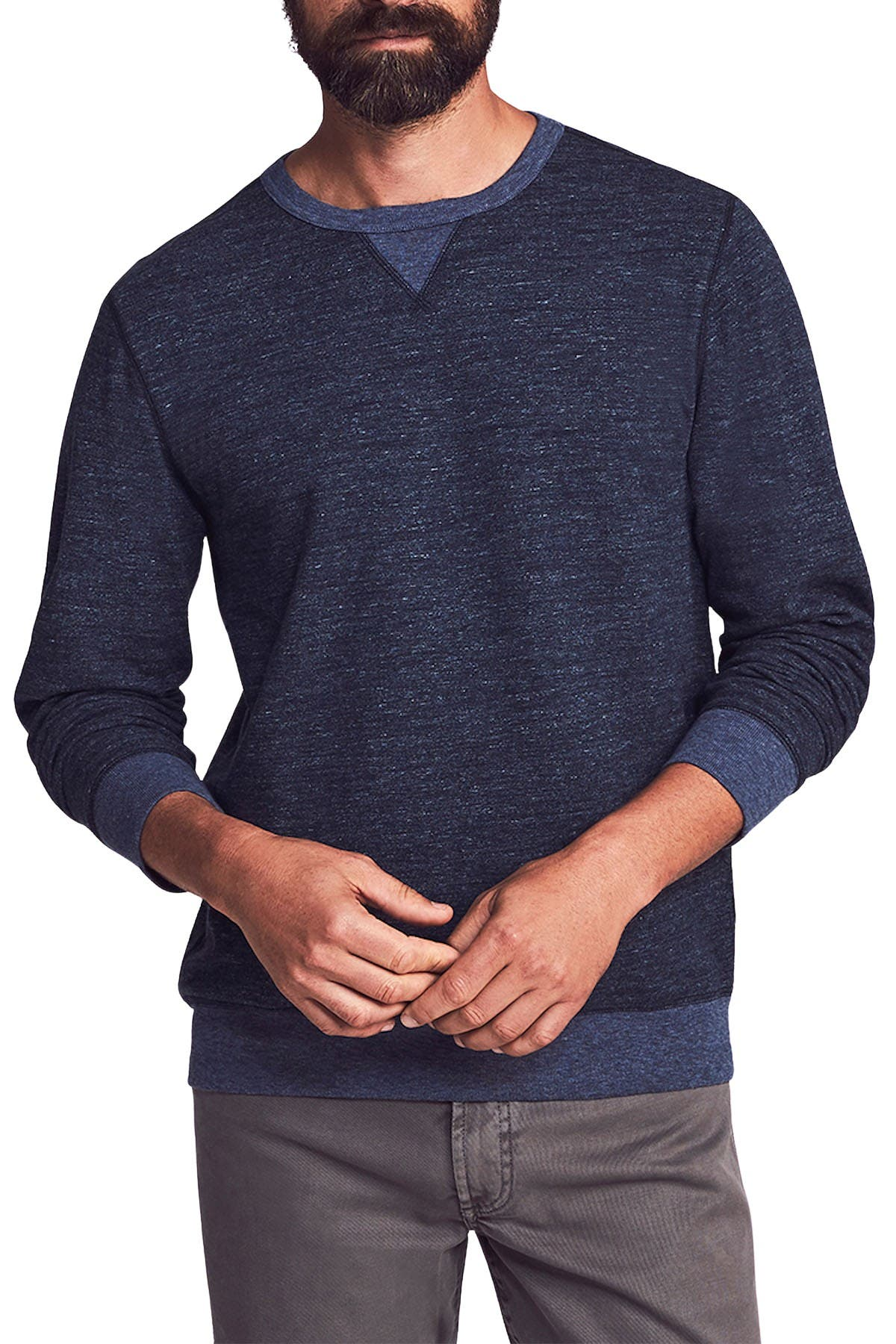 Image of FAHERTY BRAND Dual Knit Crew Neck Sweater
