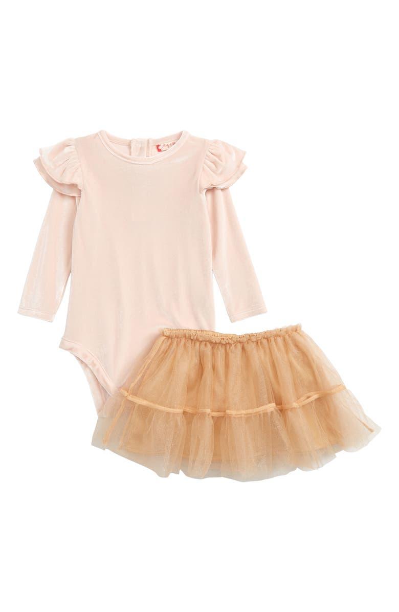 RUBY & BLOOM Ballerina Velvet Bodysuit & Tulle Skirt Set, Main, color, PINK WOOD- GOLD