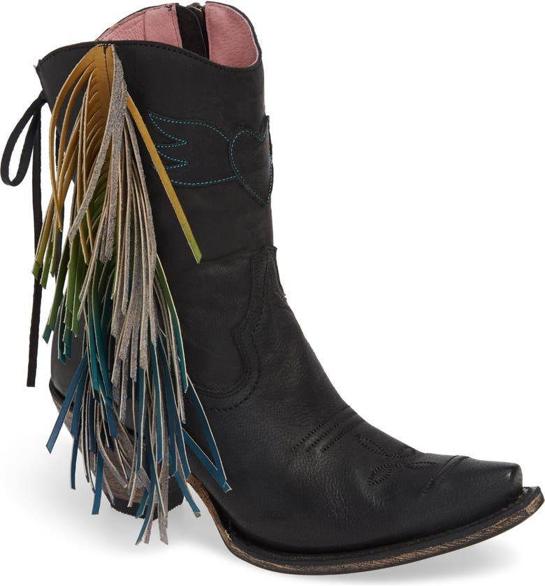 LANE BOOTS x Junk Gypsy Fringe Western Bootie, Main, color, BLACK LEATHER