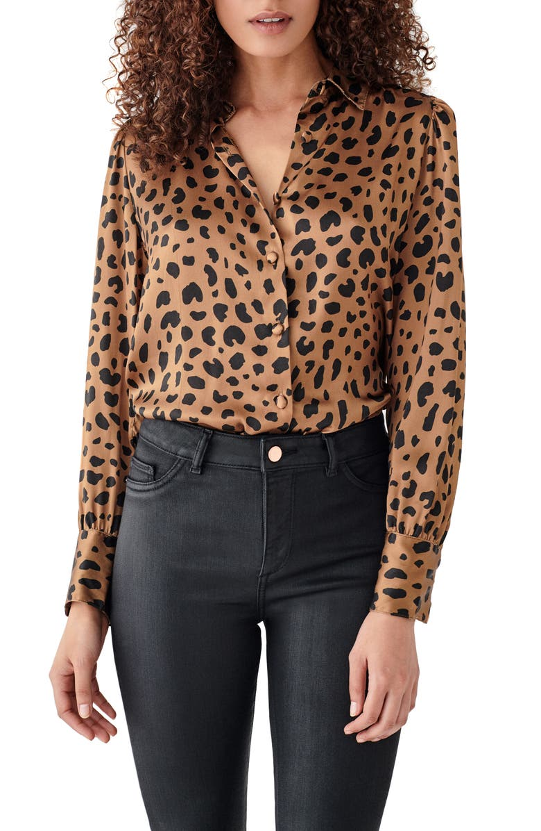 DL1961 x Marianna Hewitt Chambers St. Silk Top, Main, color, LEOPARD PRINT