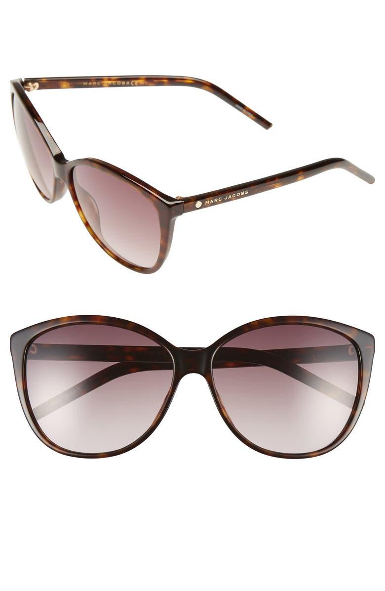 THE MARC JACOBS 58mm Polarized Butterfly Sunglasses, Main, color, DARK HAVANA