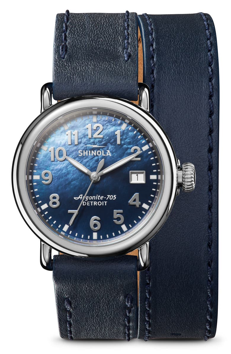 SHINOLA The Runwell Wraparound Leather Strap Watch, 36mm, Main, color, OCEAN/ BLUE MOP/ SILVER