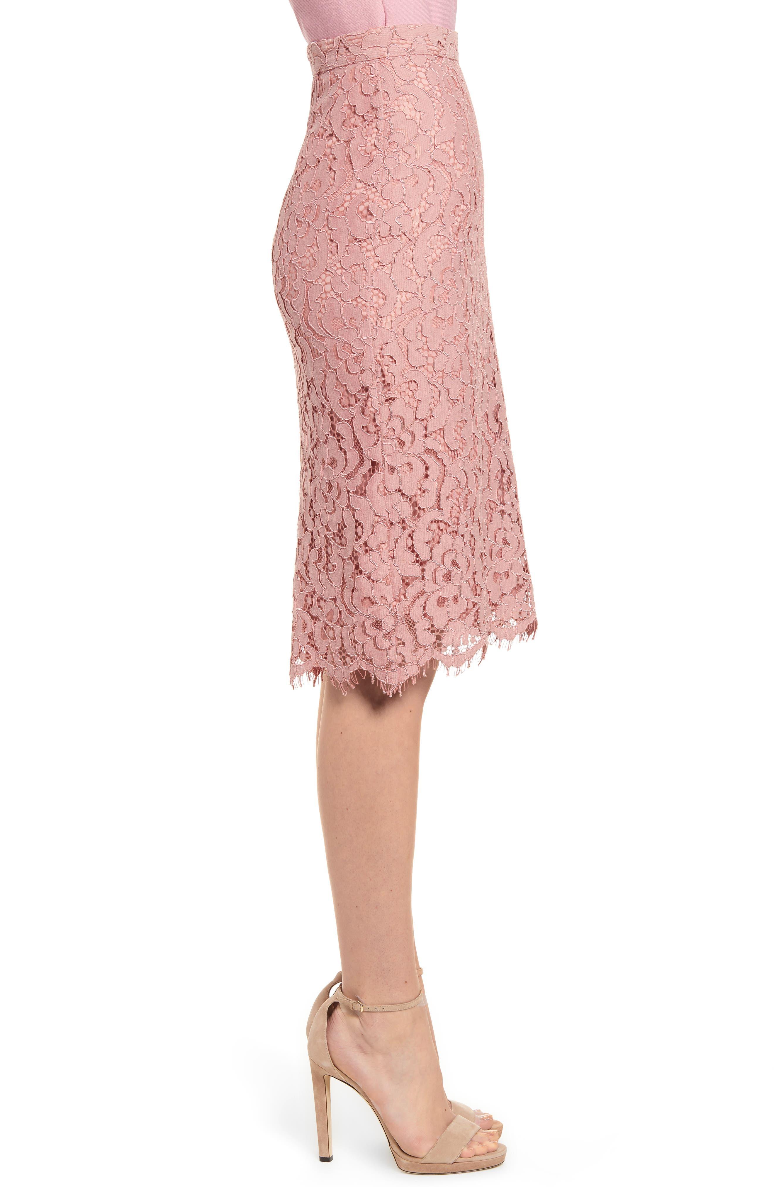 ,                             Lace Pencil Skirt,                             Alternate thumbnail 4, color,                             PINK BEAUTY