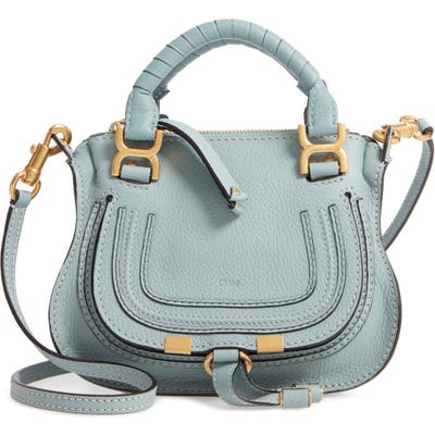 Chloe Mini Marcie Leather Crossbody Bag - Blue