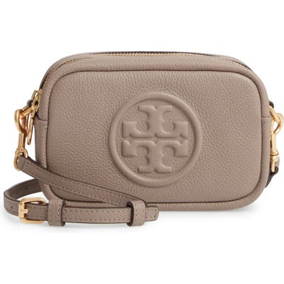 Tory Burch Perry Bombe Leather Crossbody Bag - Grey (Nordstrom Exclusive)