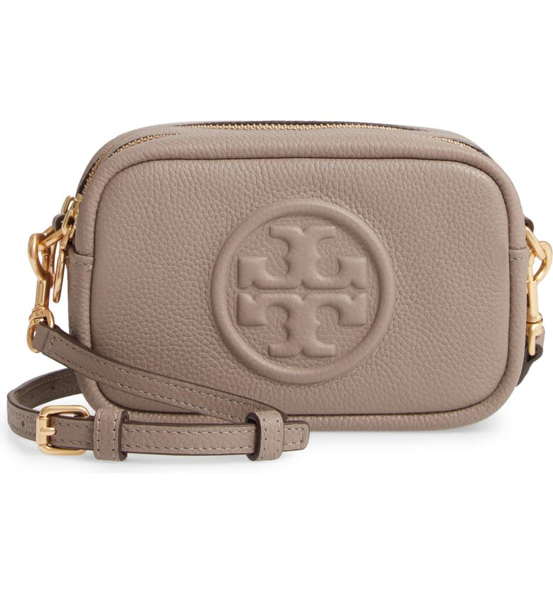 TORY BURCH Perry Bombe Leather Crossbody Bag, Main, color, GRAY HERON