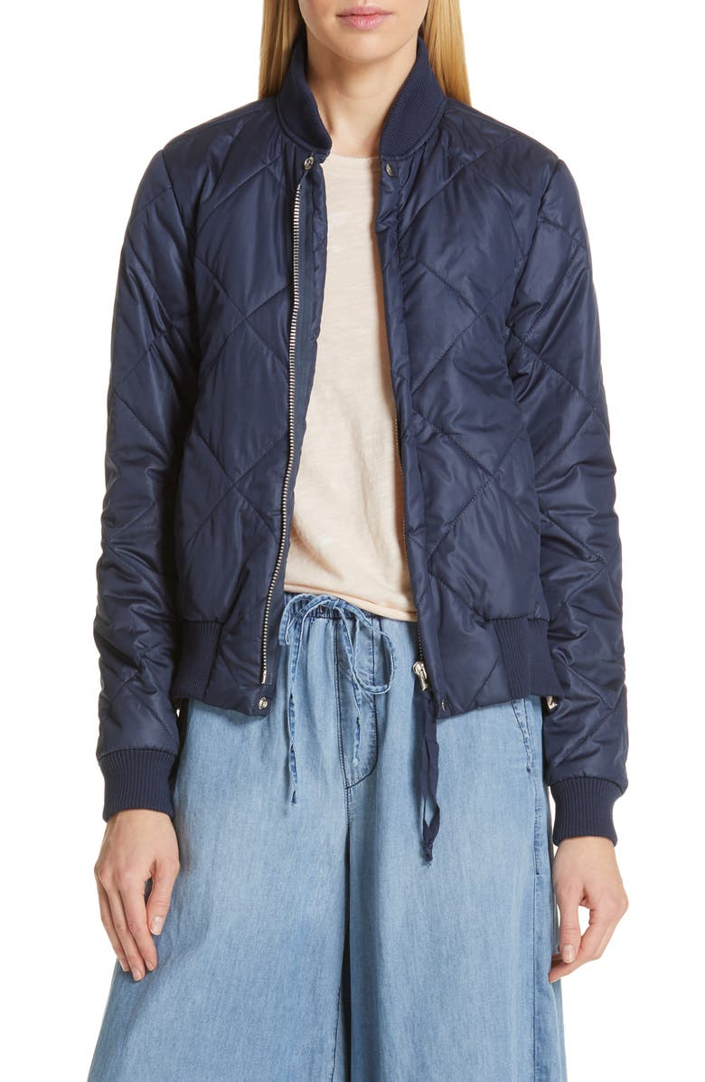 NSF CLOTHING Quilted Bomber Jacket, Main, color, NAVY/ BLUSH