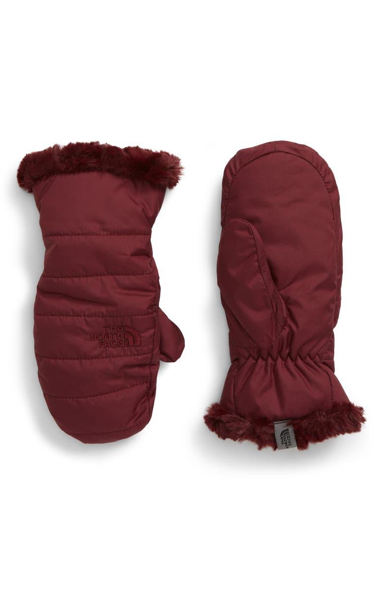 THE NORTH FACE Mossbud Swirl Reversible Water Resistant Mittens, Main, color, DEEP GARNET RED