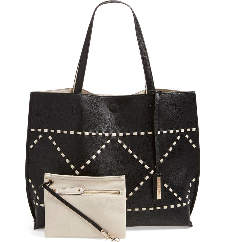 STREET LEVEL Reversible Woven Faux Leather Tote, Main, color, 001