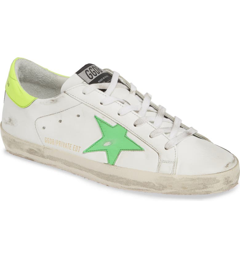 GOLDEN GOOSE Superstar Low Top Sneaker, Main, color, WHITE/ GREEN/ YELLOW