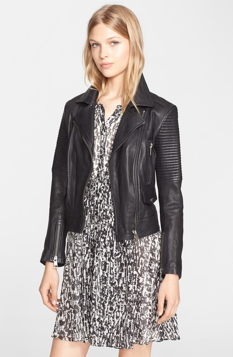 BURBERRY BRIT 'Edgewick' Lambskin Leather Moto Jacket, Main, color, 001