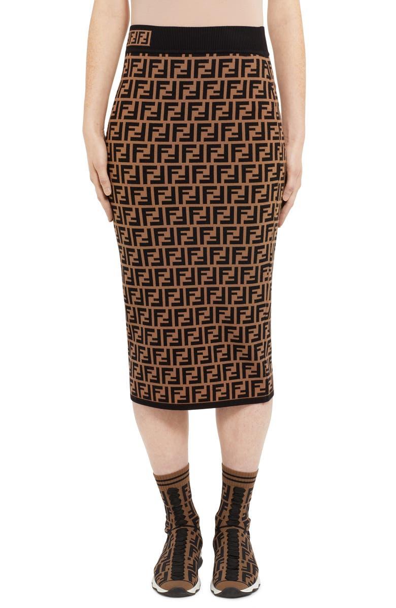 FENDI Logo Jacquard Midi Sweater Skirt, Main, color, BROWN