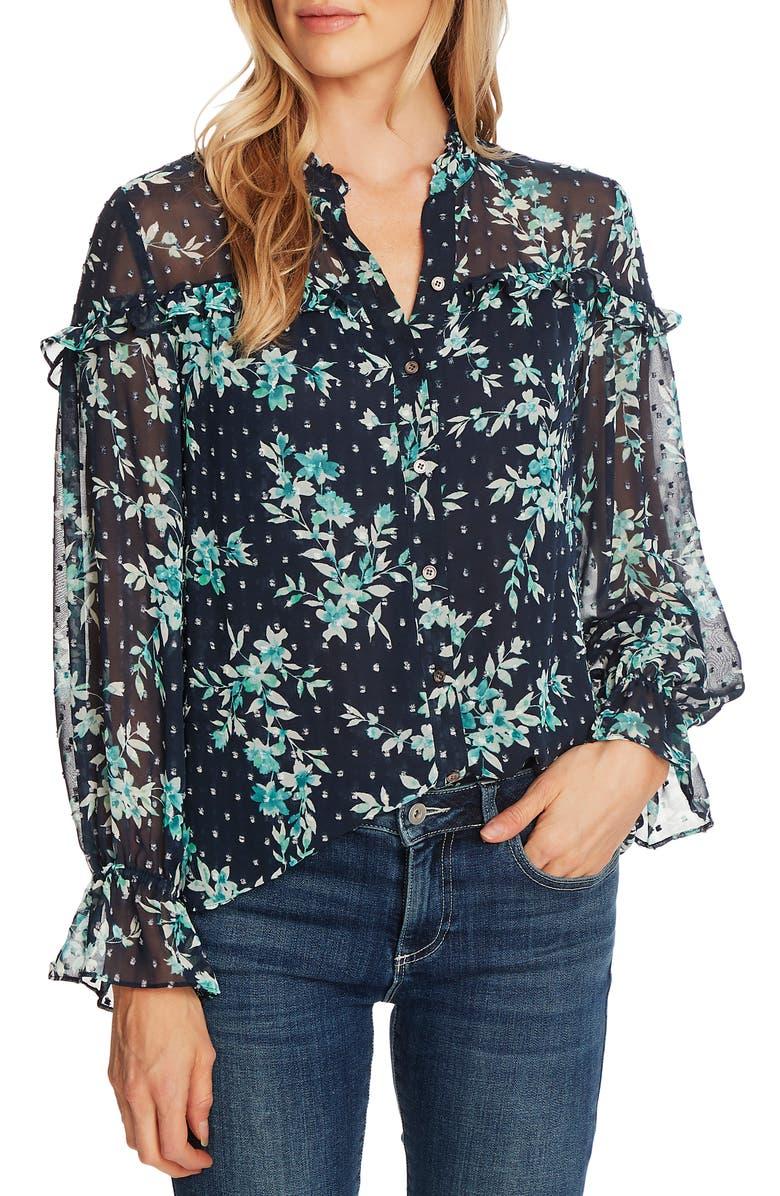 CECE Breezy Bouquet Clip Dot Long Sleeve Blouse, Main, color, 402