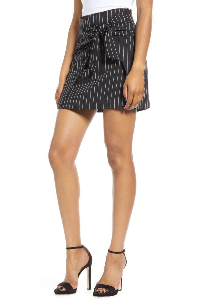 LEITH Front Tie Pinstripe Miniskirt, Main, color, BLACK VERTICAL SAVVY STR