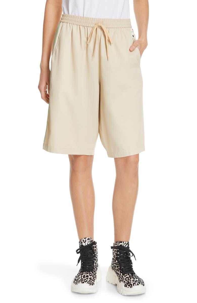 TIBI Drapey Tech Suiting Shorts, Main, color, TAN MULTI