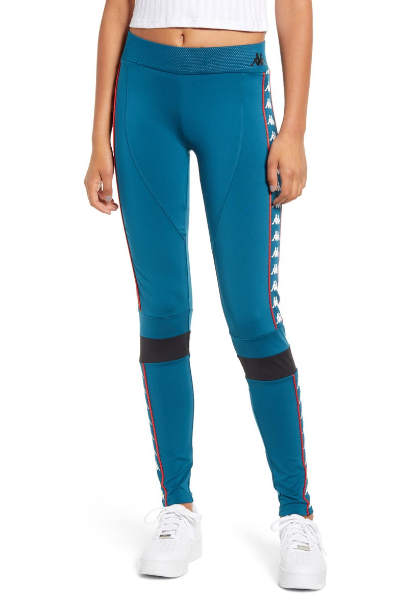 KAPPA Burta Logo Stripe Leggings, Main, color, BLUE PETROL/ BLACK
