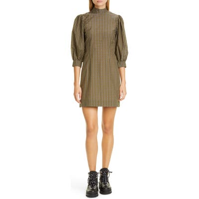Ganni Short Check Seersucker Dress, US / 4 - Green