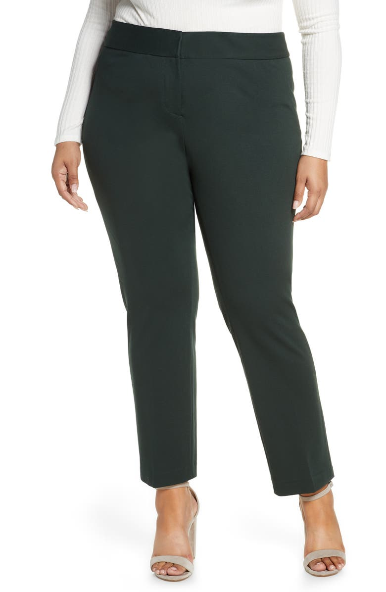 VINCE CAMUTO Stretch Trousers, Main, color, DARK WILLOW