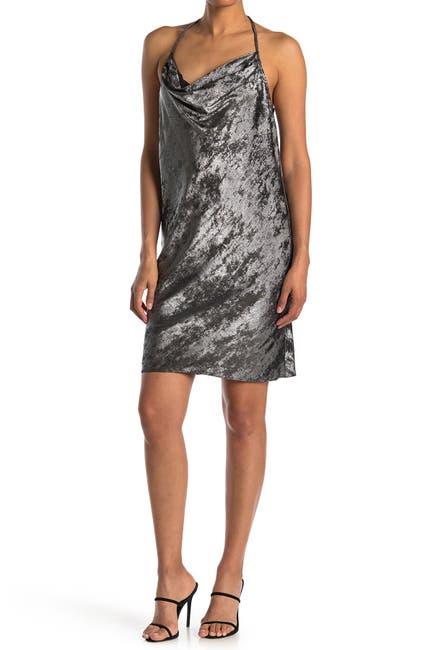 Image of HALSTON Cowl Neck Metallic Dress