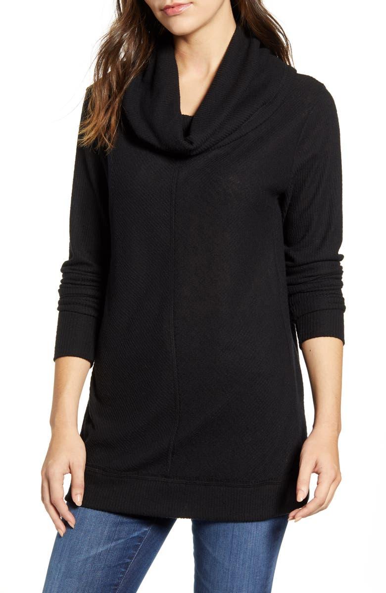 CASLON<SUP>®</SUP> Cozy Cowl Neck Long Sleeve Tunic Top, Main, color, BLACK