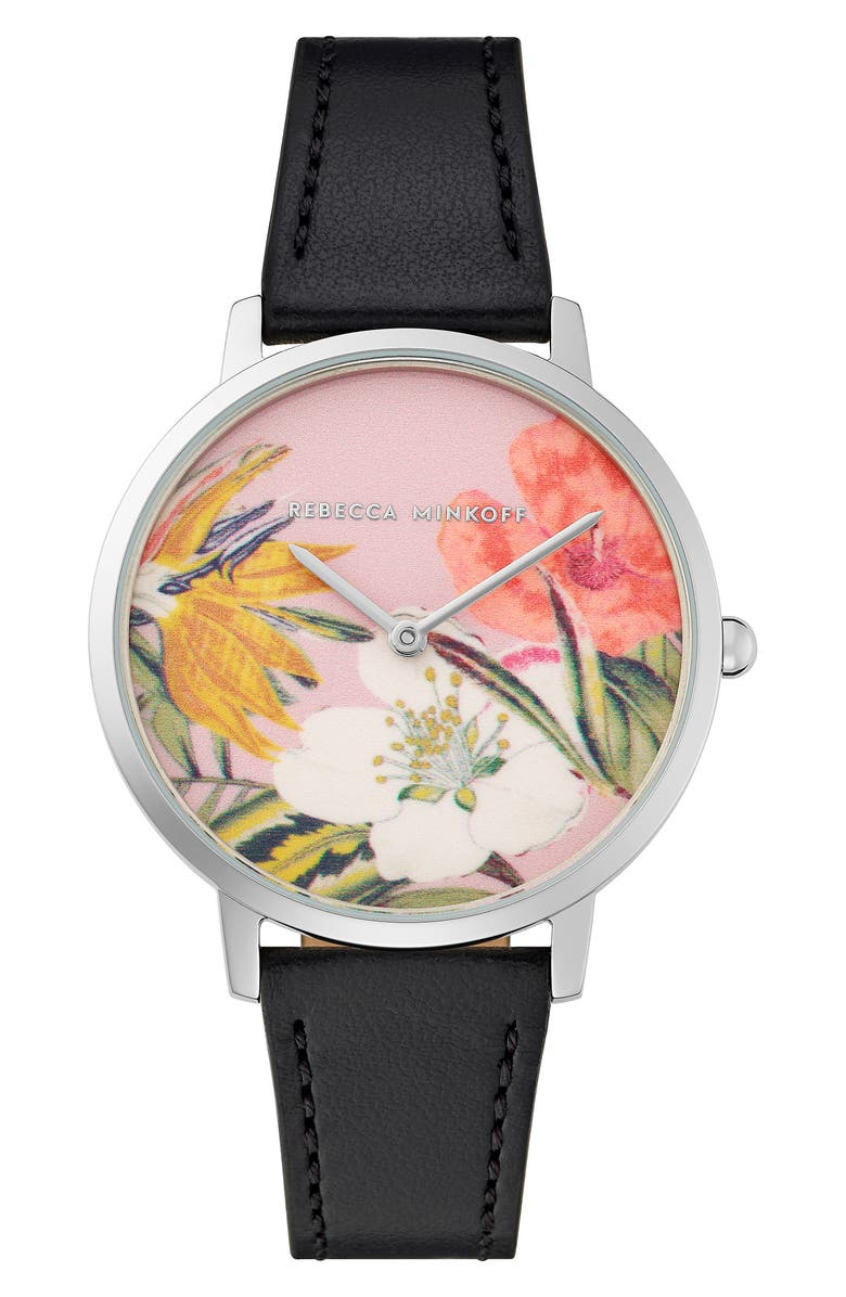 REBECCA MINKOFF Major Floral Dial Leather Strap Watch, 35mm, Main, color, BLACK/ PINK/ SILVER