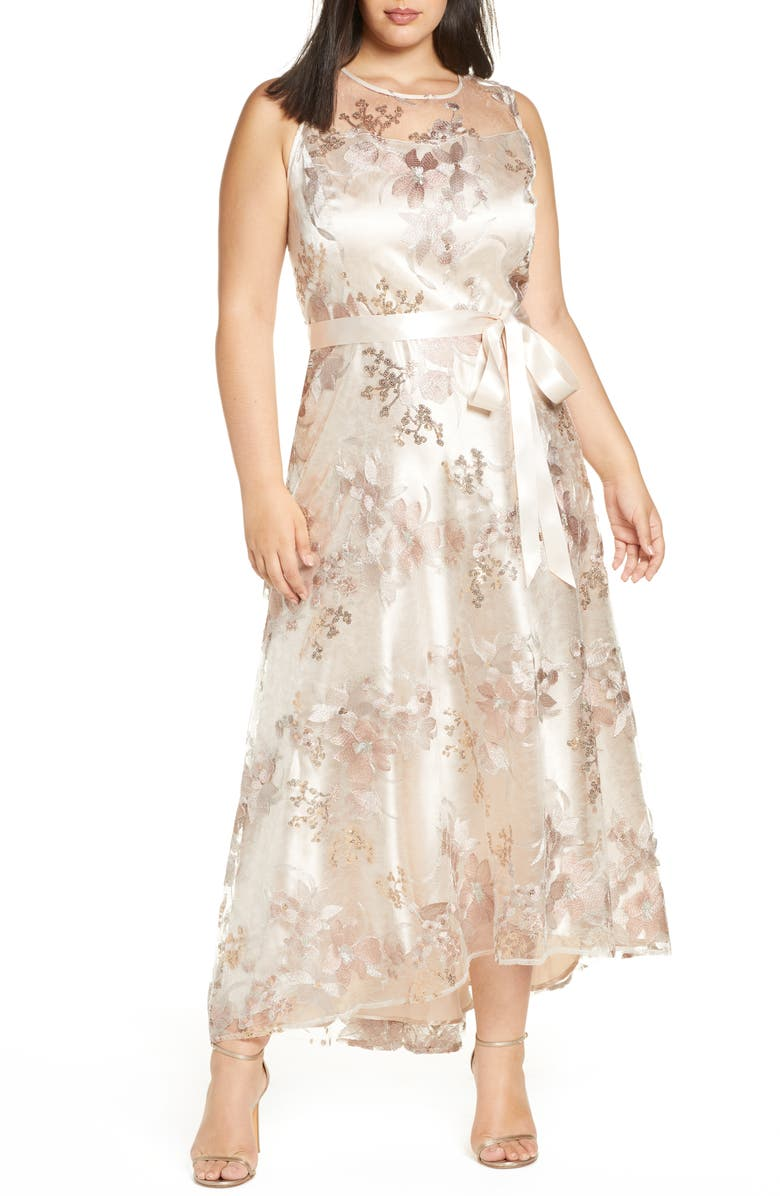 TAHARI Embroidered Mesh Gown, Main, color, ROSE GOLD
