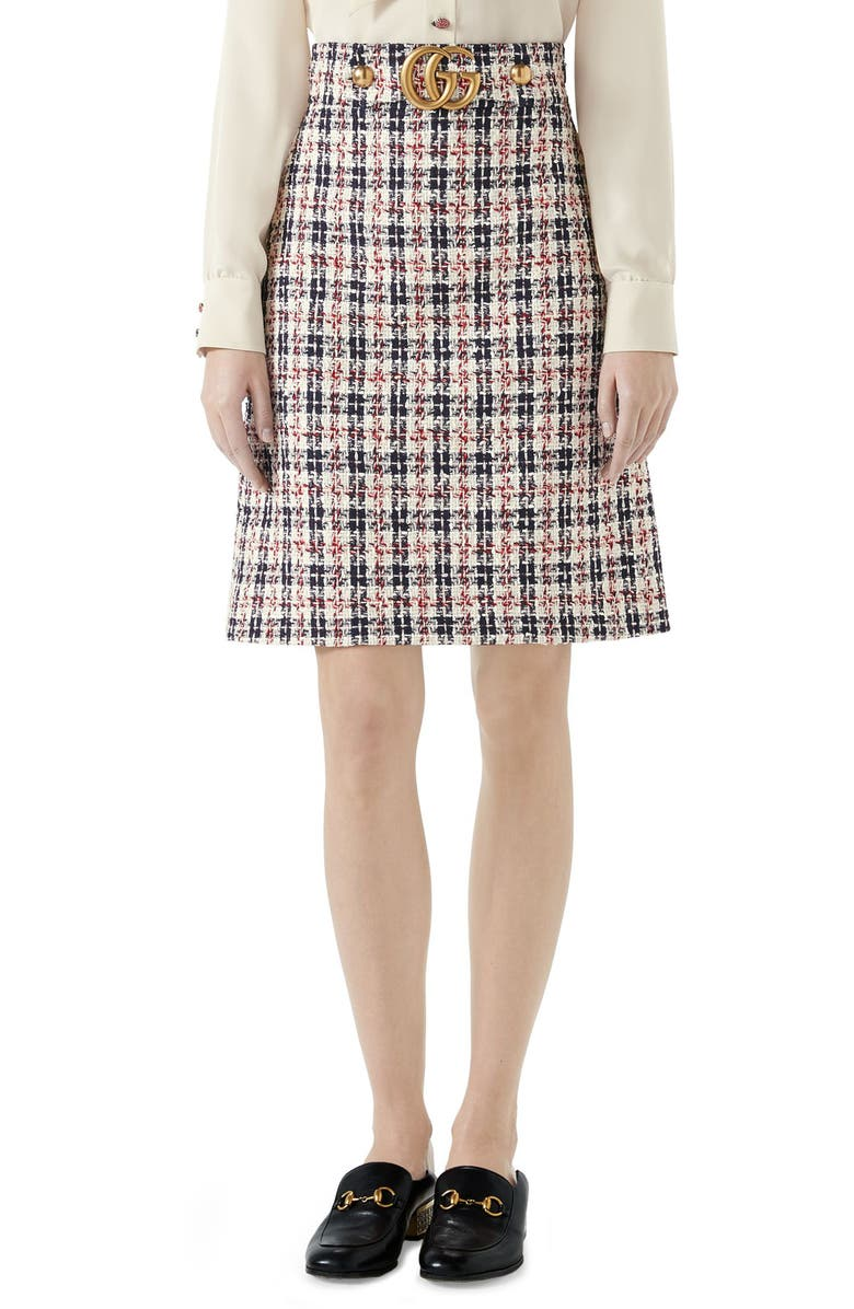 GUCCI Tweed A-Line Skirt, Main, color, GARDENIA/ INK