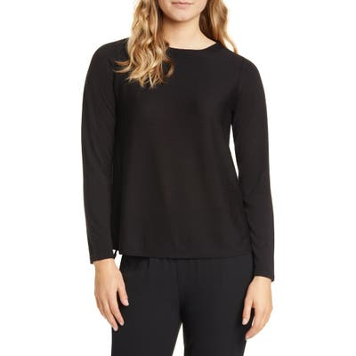 Eileen Fisher A-Line Long Sleeve Top, Black