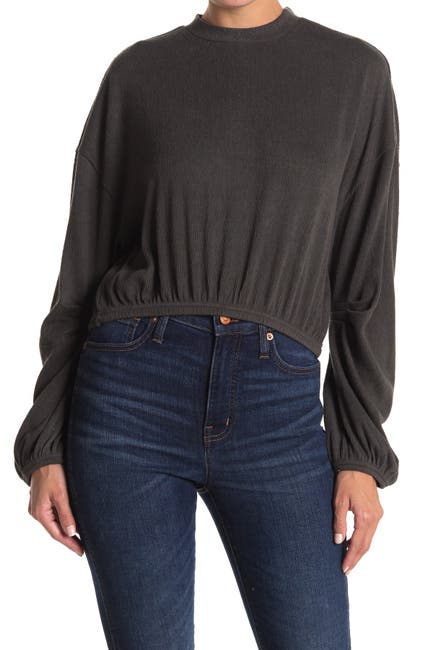 Image of Amuse Society Melo Long Sleeve Knit Fleece Top