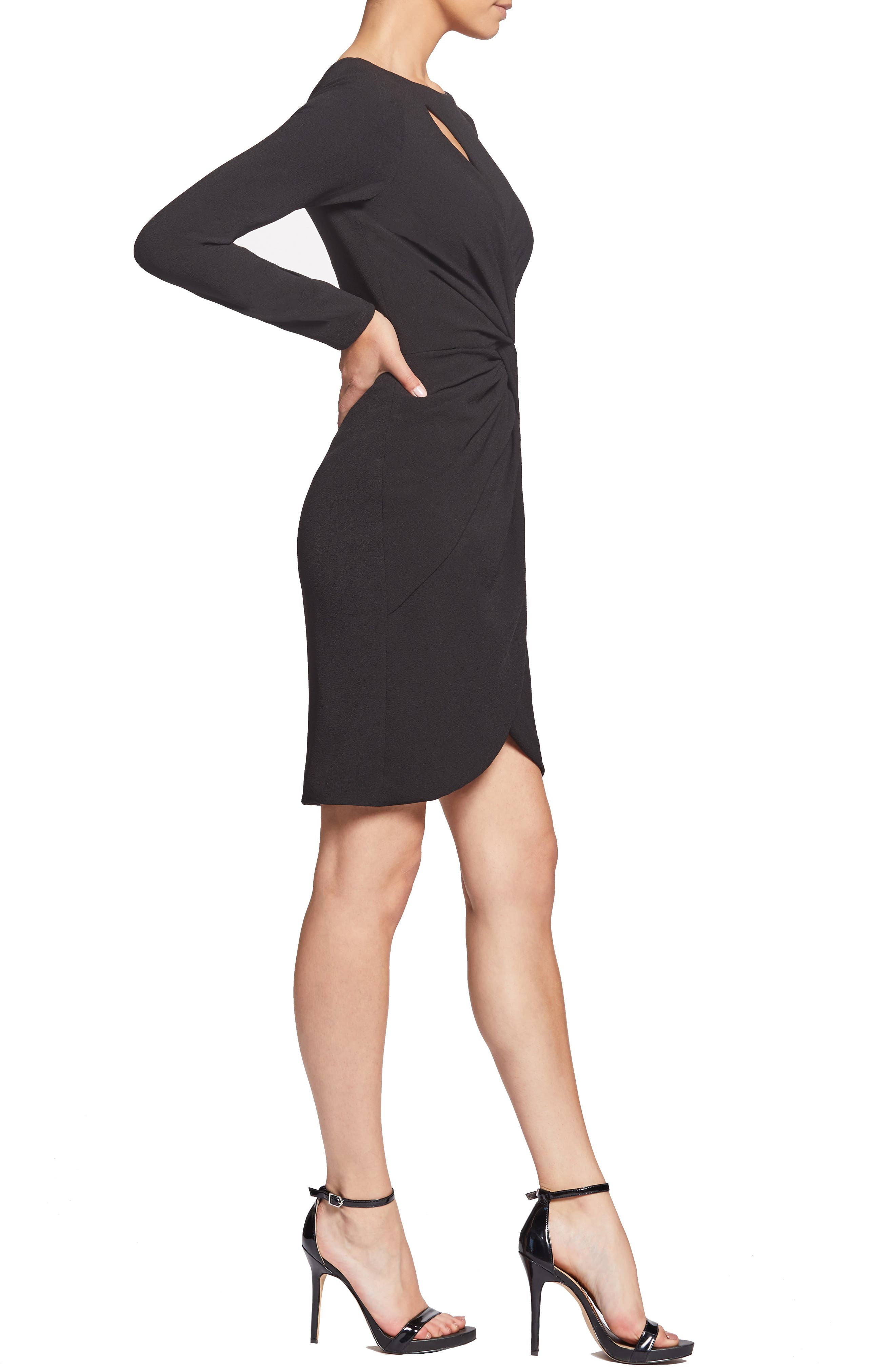 ,                             Coby Twisted Faux Wrap Cocktail Dress,                             Alternate thumbnail 4, color,                             001