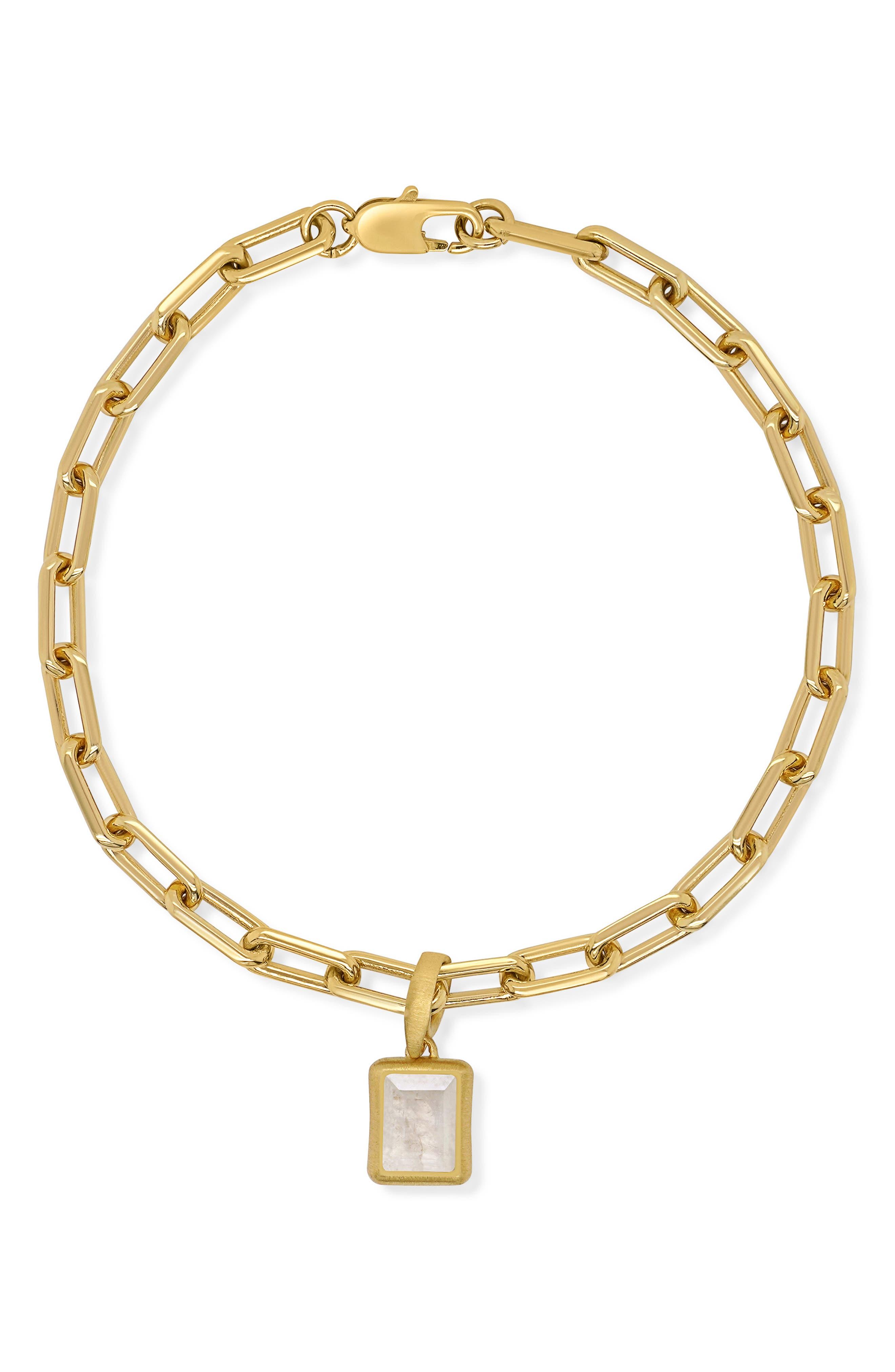 Baguette Moonstone Pendant Bracelet