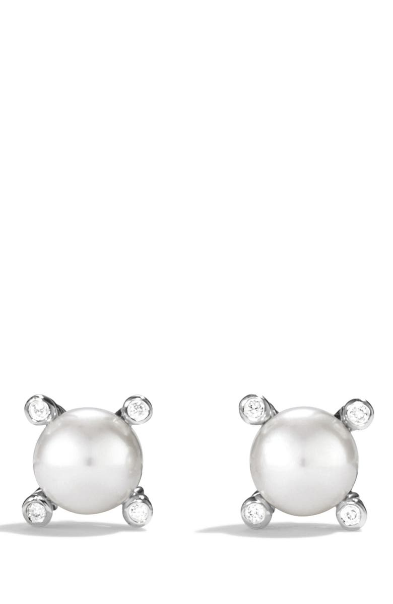 DAVID YURMAN Small Pearl Earrings with Diamonds, Main, color, PEARL