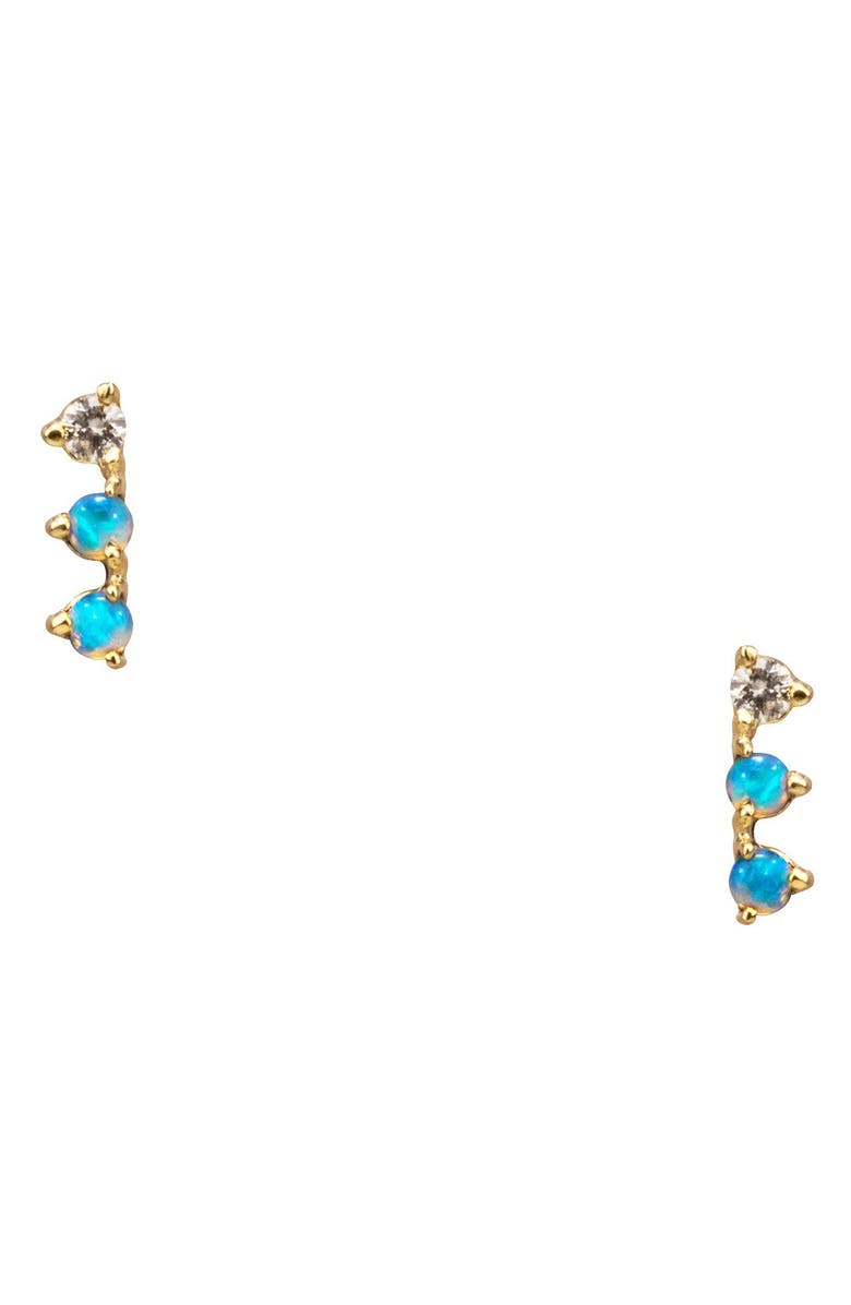 Wwake Counting Collection Three Step Opal Diamond Statement Earrings