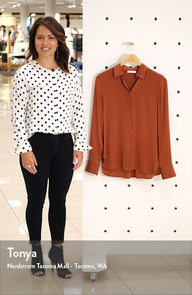 Slim Fitted Stretch Silk Blouse, sales video thumbnail