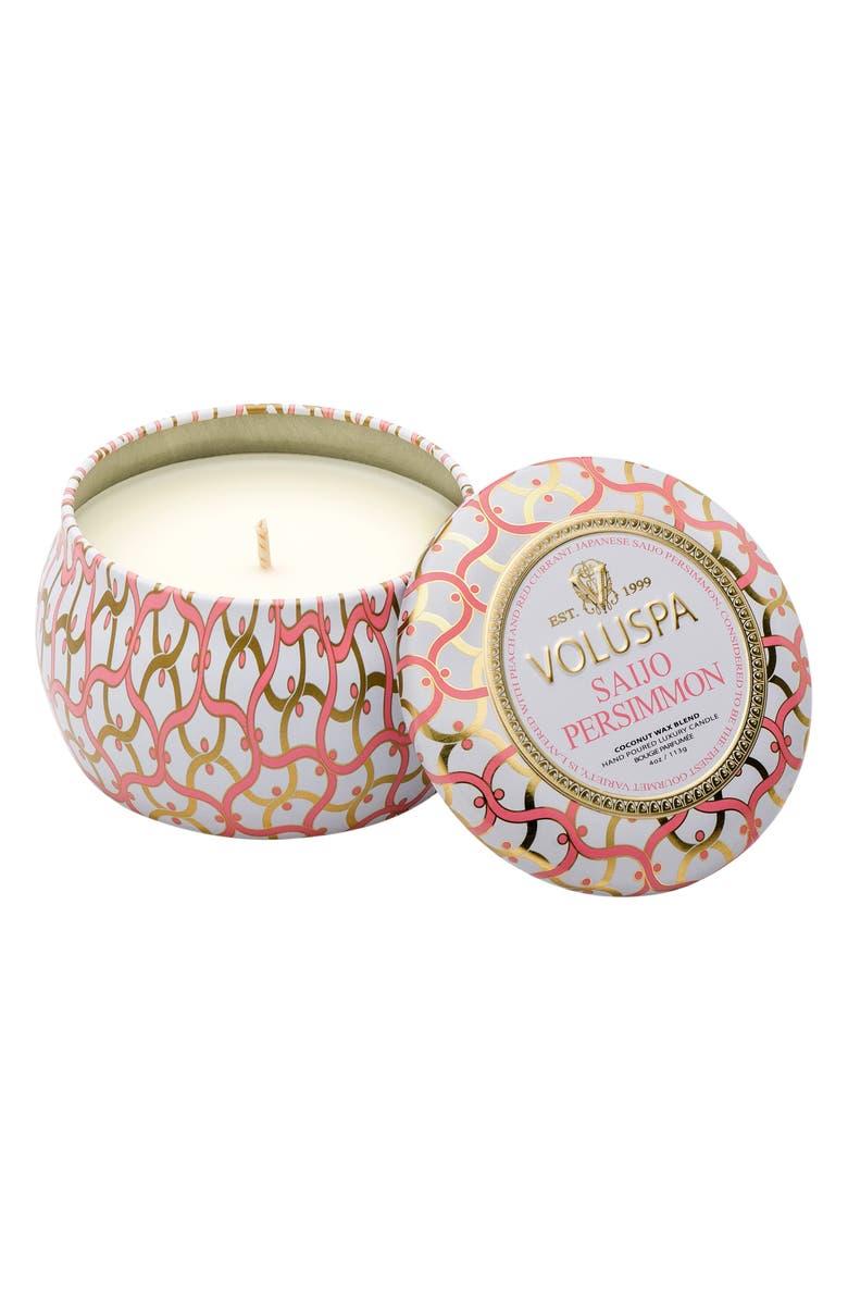 VOLUSPA Maison Blanc Saijo Persimmon Petite Decorative Tin Candle, Main, color, NO COLOR