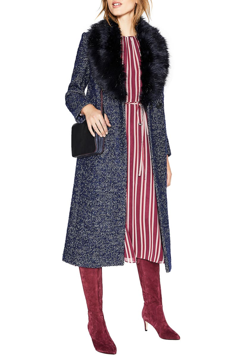 BODEN Burley Removable Faux Fur Collar Tweed Coat, Main, color, 414