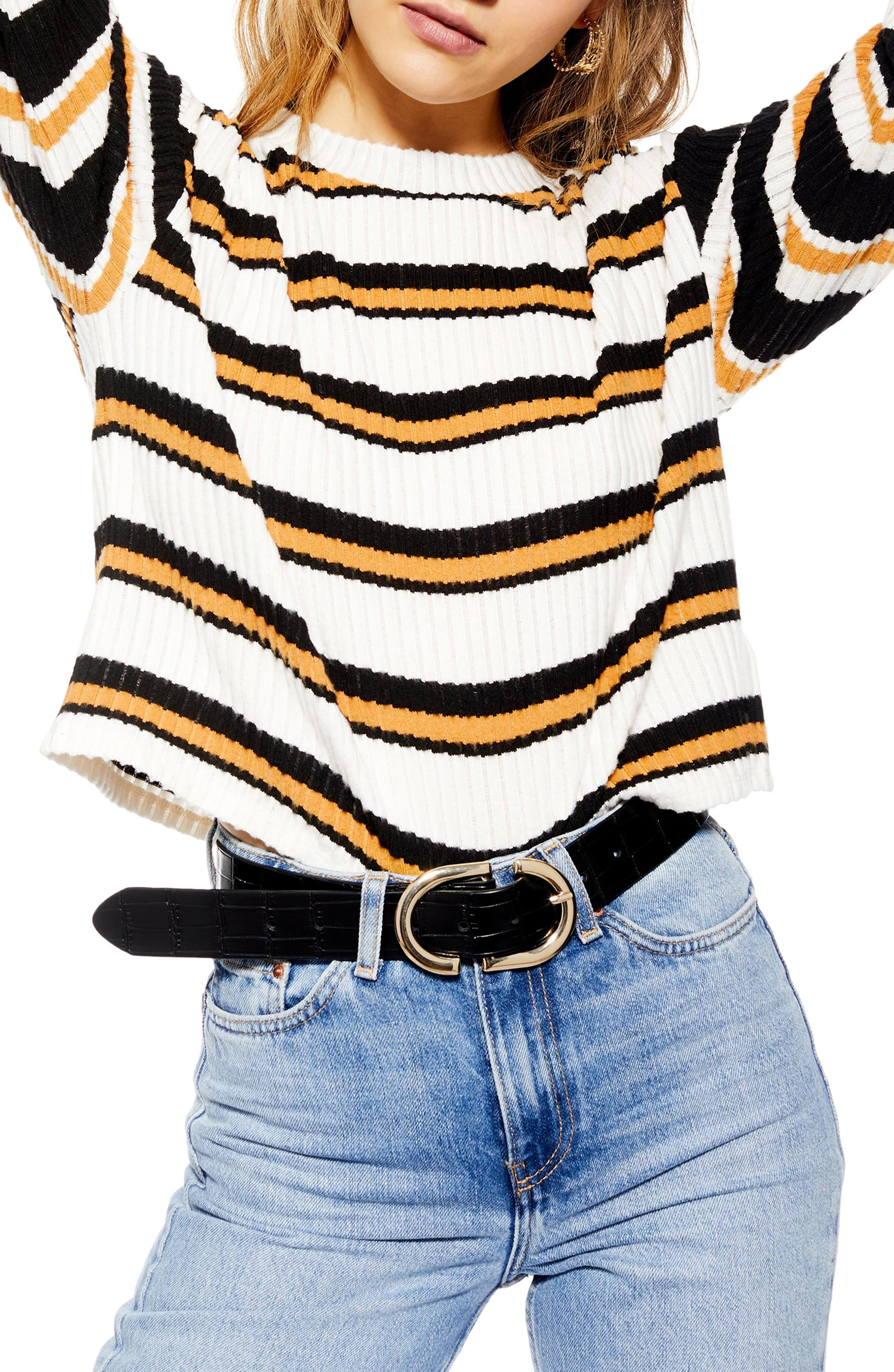 Stripe Cut & Sew Sweater, Main, color, 001